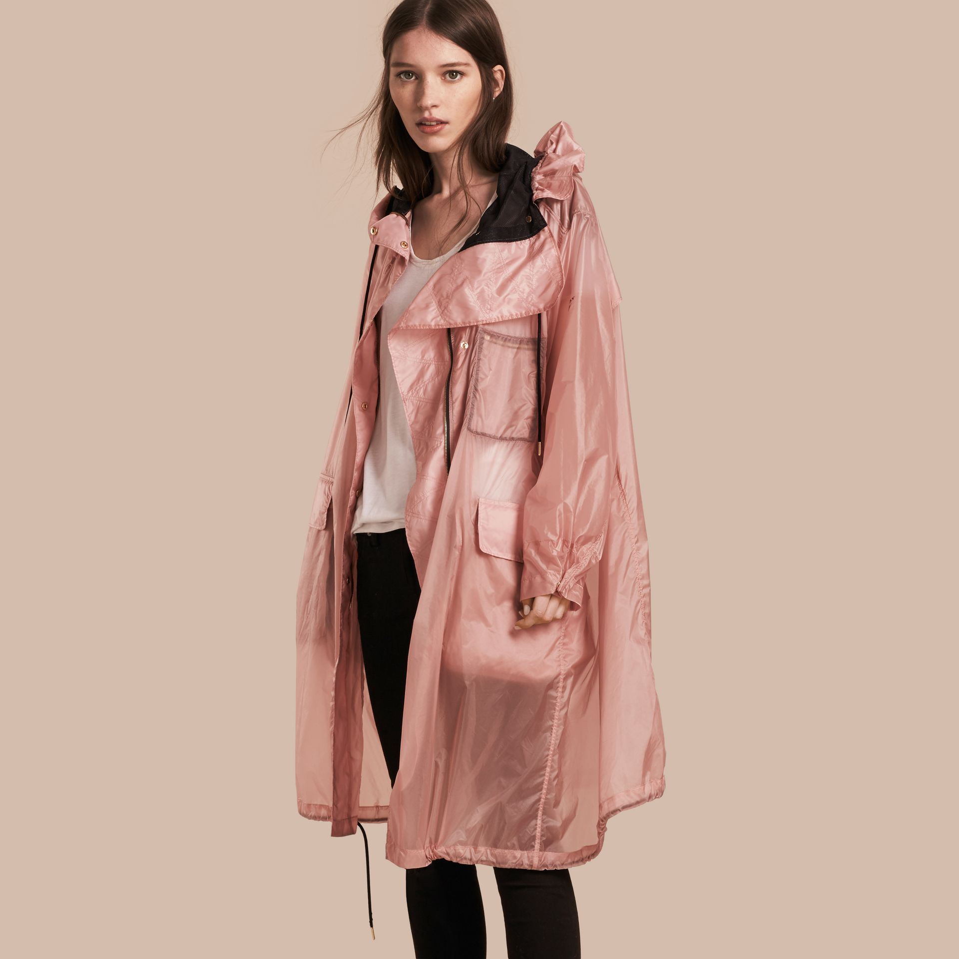 Oversize Technical Packaway Parka with Hood Ash Rose - gallery image 1