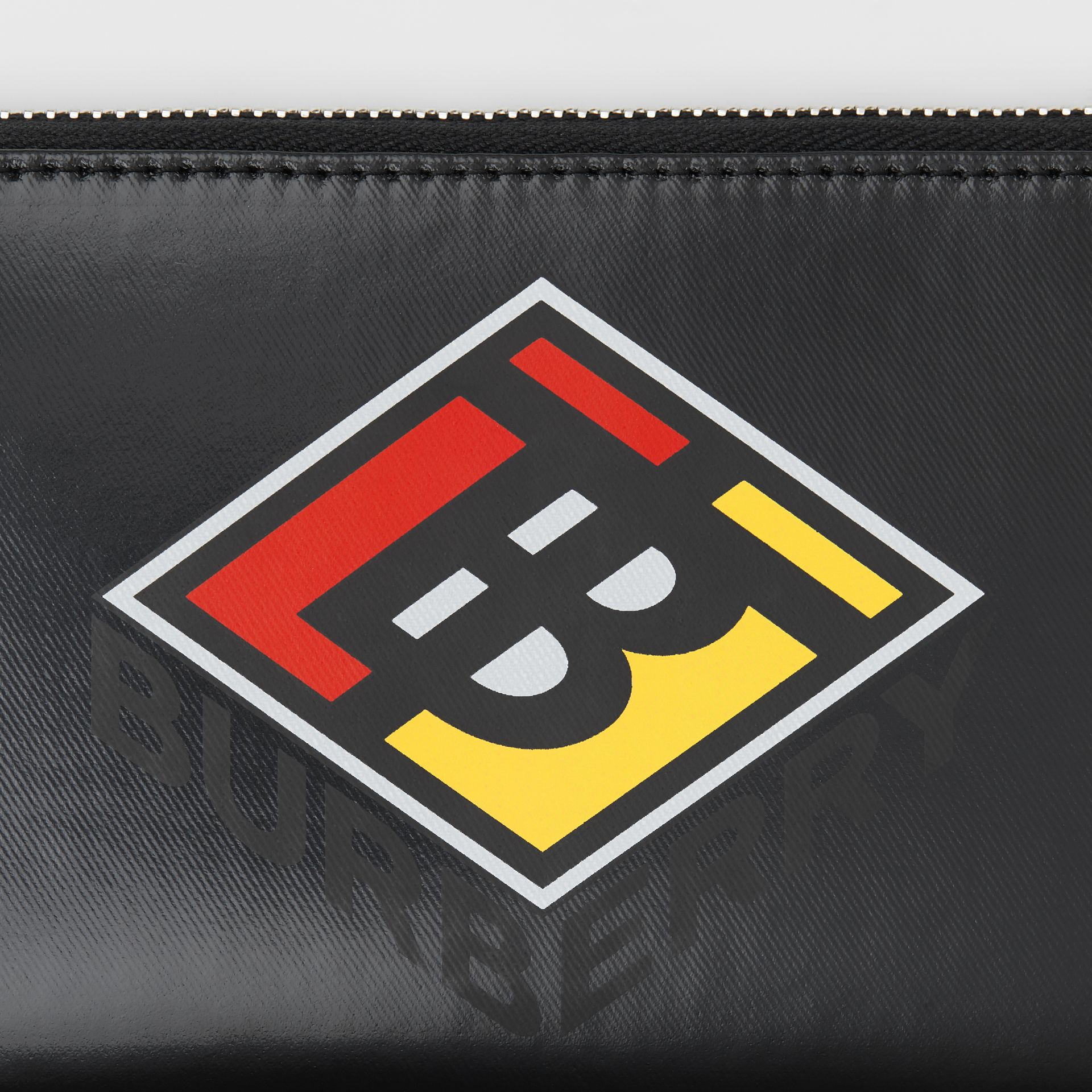 Logo Graphic Canvas Ziparound Wallet in Black - Men | Burberry - gallery image 1