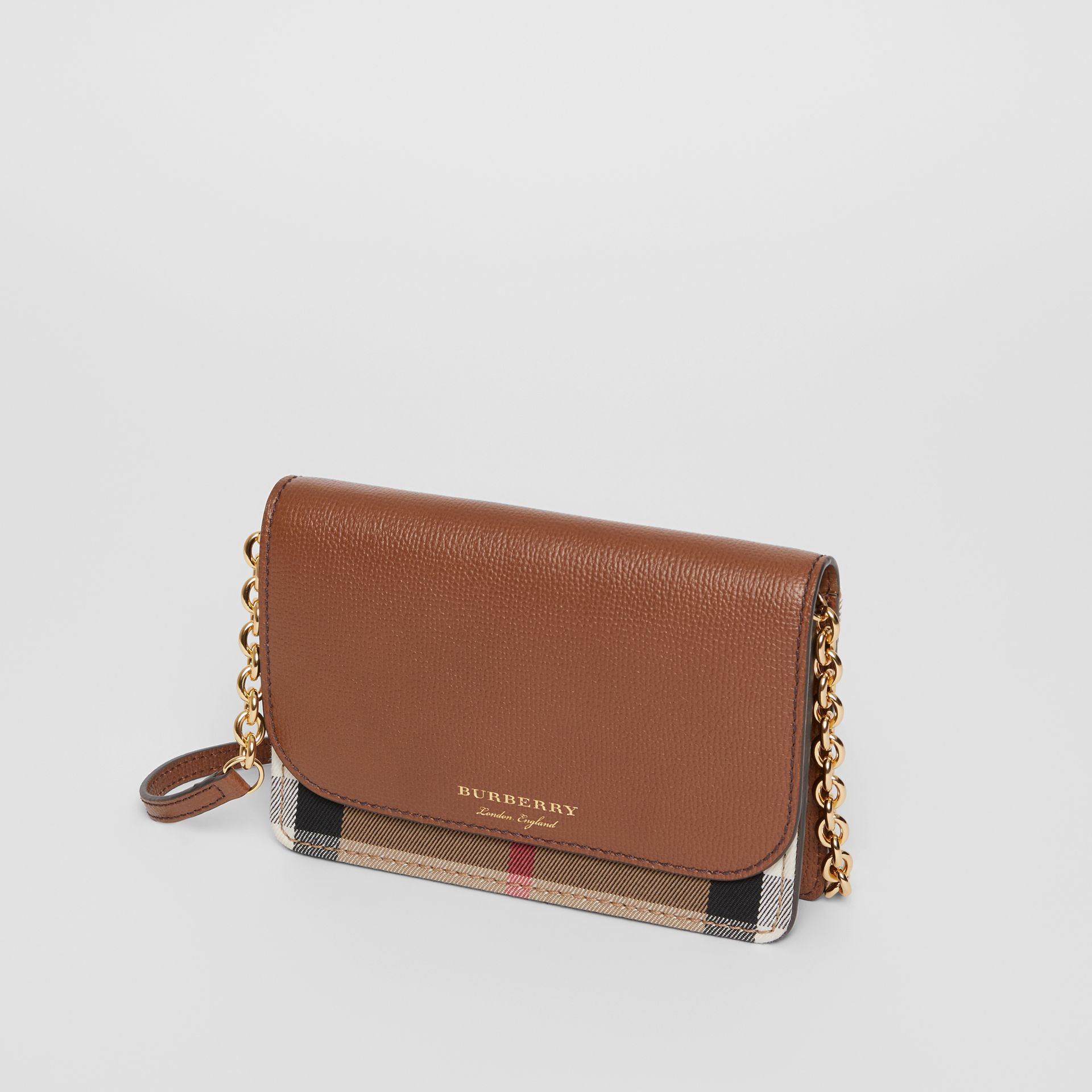 Leather and House Check Wallet with Detachable Strap in Tan - Women | Burberry Australia - gallery image 4