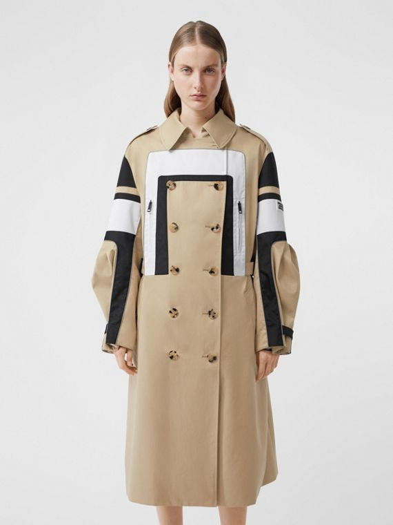 Cotton Gabardine Reconstructed Trench Coat in Soft Fawn
