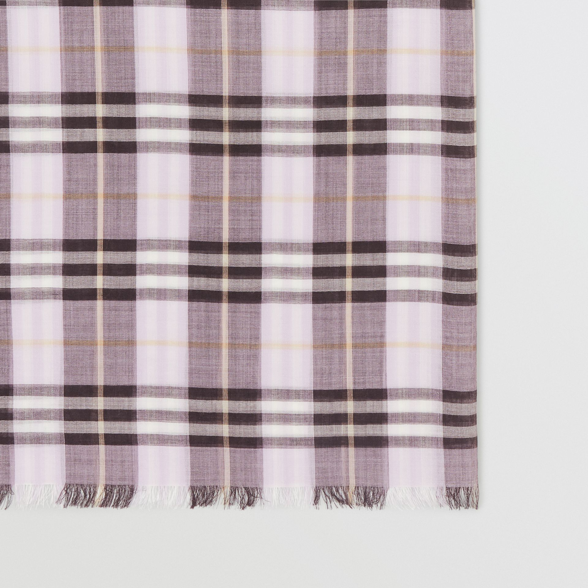 Vintage Check Lightweight Wool Silk Scarf in Lavender | Burberry Singapore - gallery image 1