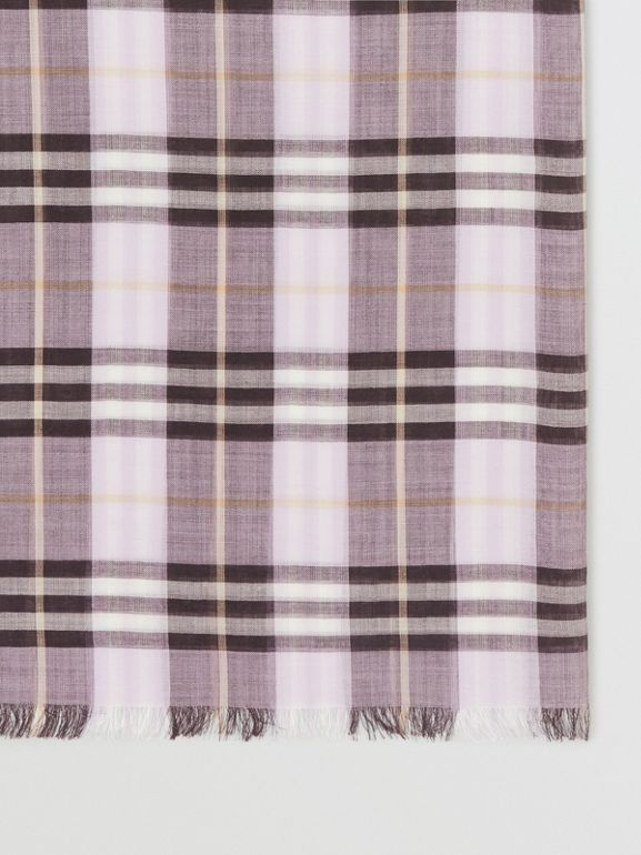 Vintage Check Lightweight Wool Silk Scarf in Lavender | Burberry - cell image 1