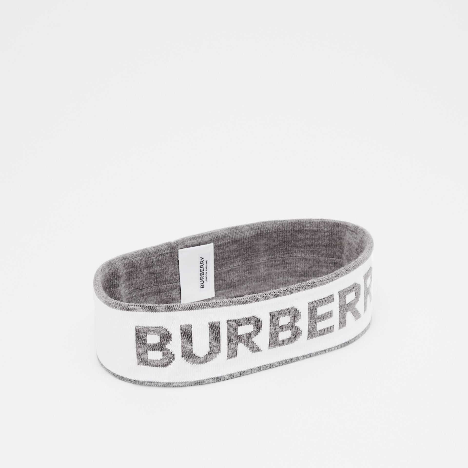 Logo Intarsia Wool Blend Headband in White/mid Grey | Burberry United States - gallery image 0