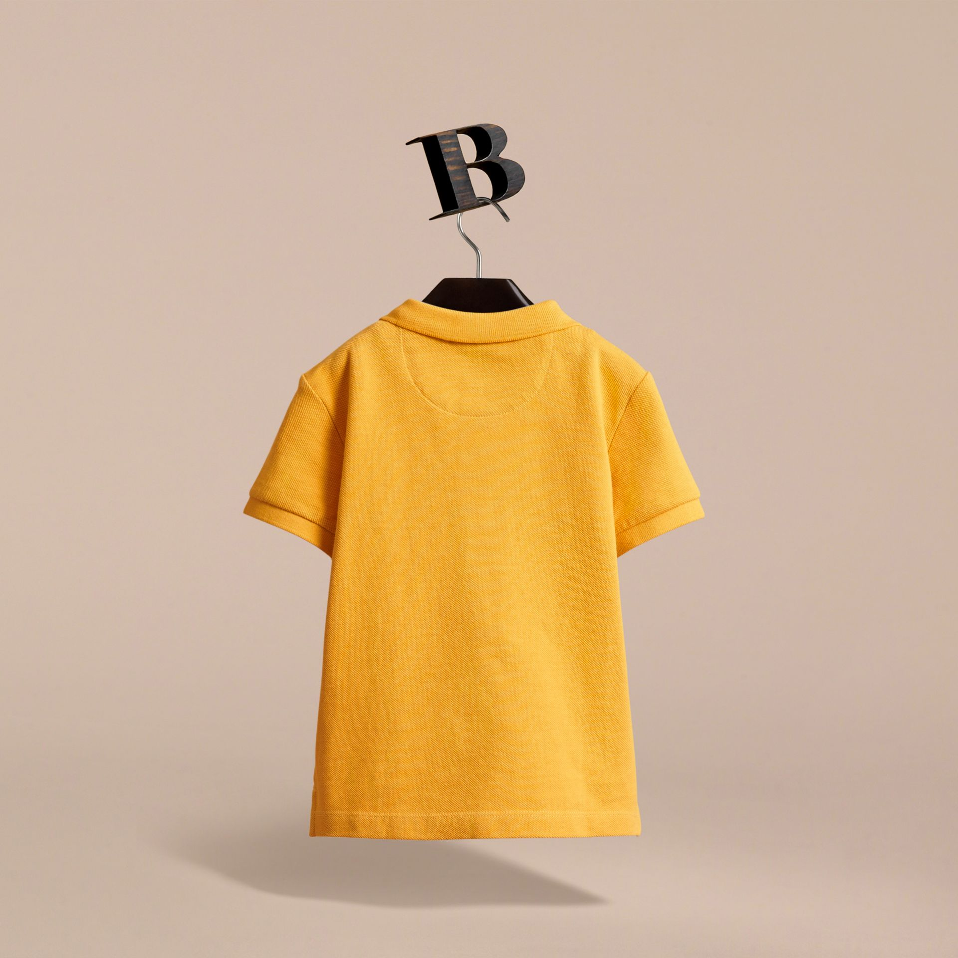 Check Placket Polo Shirt in Amber Yellow - Boy | Burberry - gallery image 4
