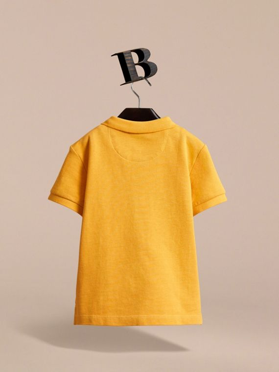 Check Placket Polo Shirt in Amber Yellow - Boy | Burberry - cell image 3