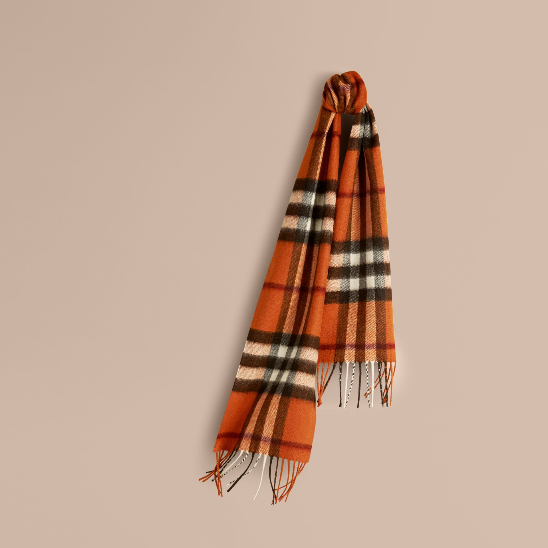Burnt orange The Mini Classic Cashmere Scarf in Check Burnt Orange - gallery image 5