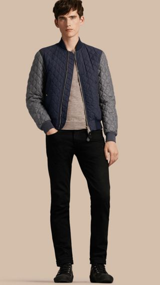 Quilted Cotton and Wool Bomber Jacket