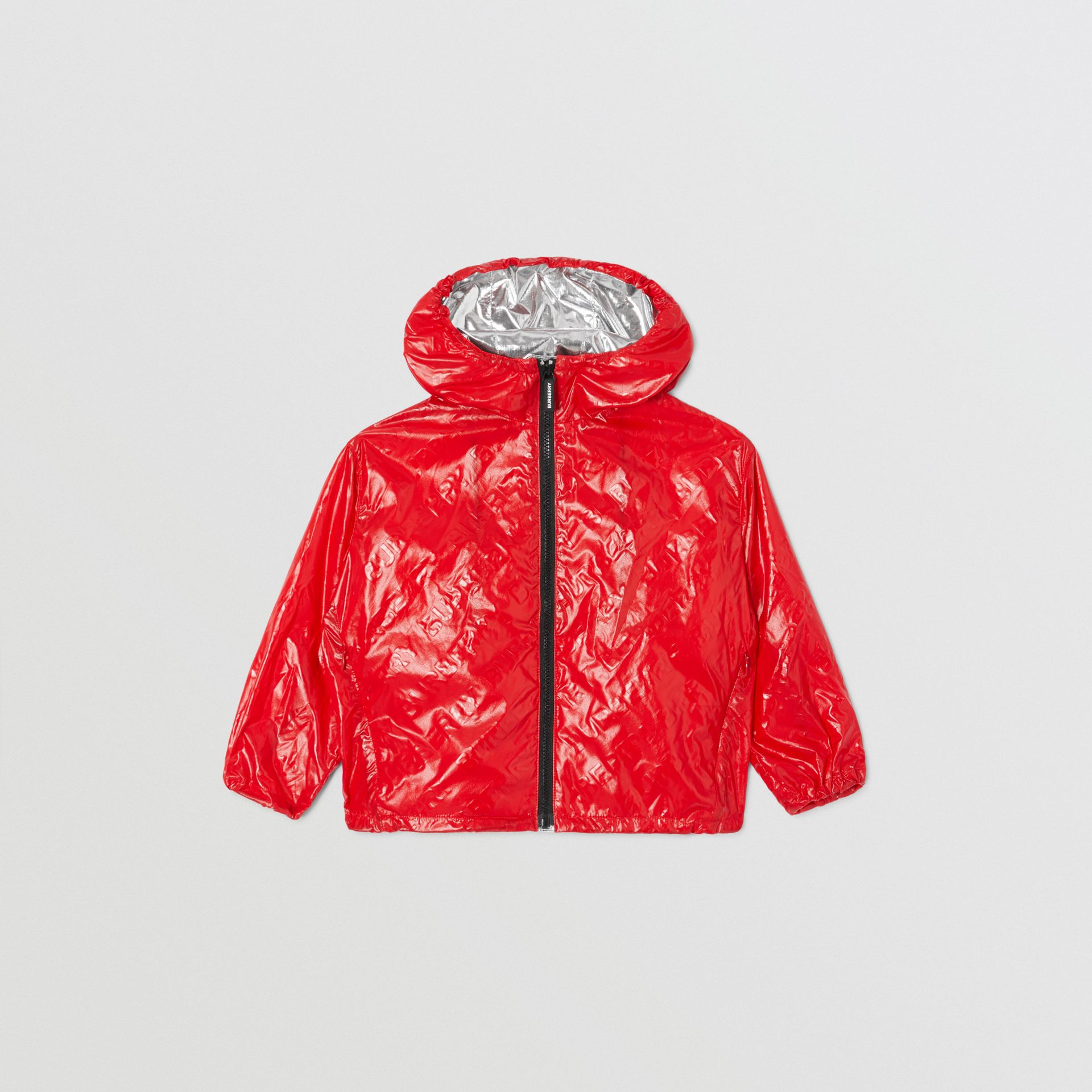 Logo Print Lightweight Hooded Jacket in Bright Red | Burberry United States - gallery image 0