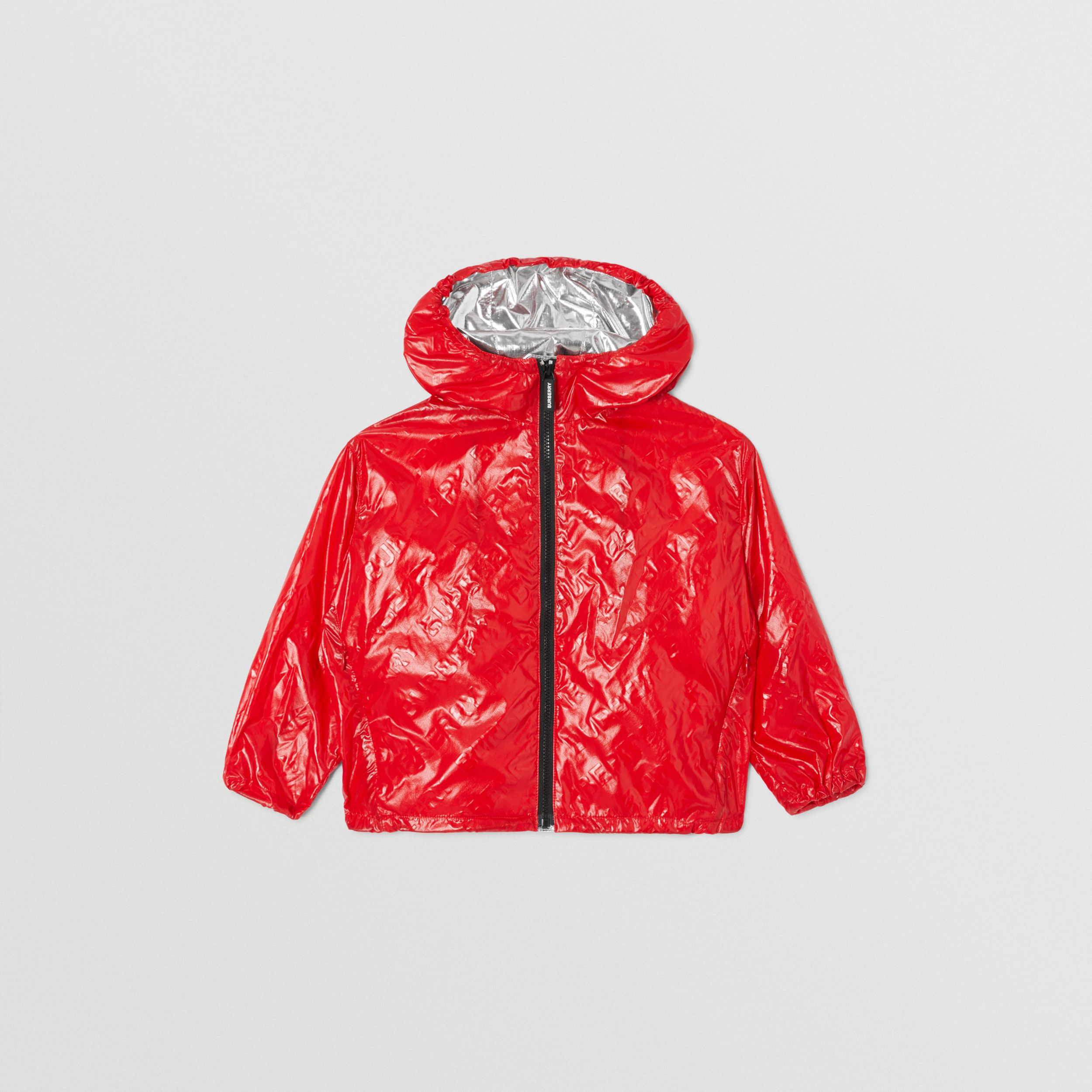 Logo Print Lightweight Hooded Jacket in Bright Red | Burberry - 1