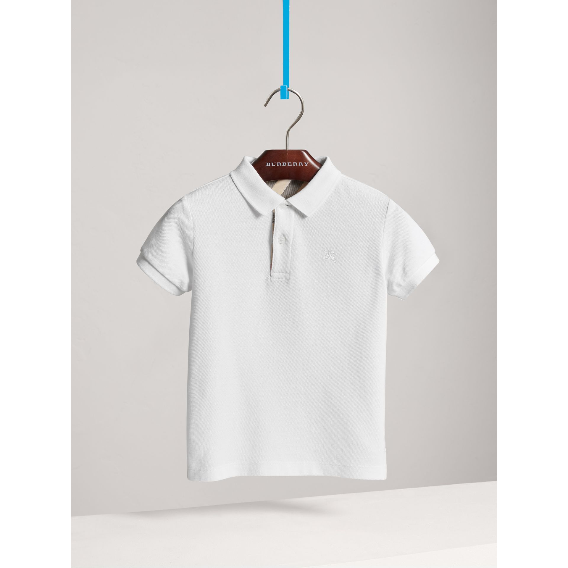 Check Placket Polo Shirt in White - Boy | Burberry - gallery image 3