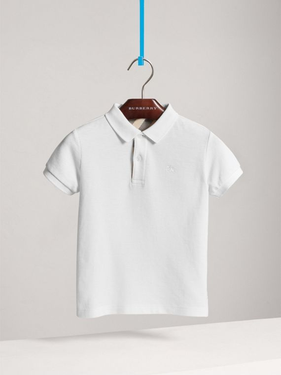 Check Placket Polo Shirt in White - Boy | Burberry - cell image 2
