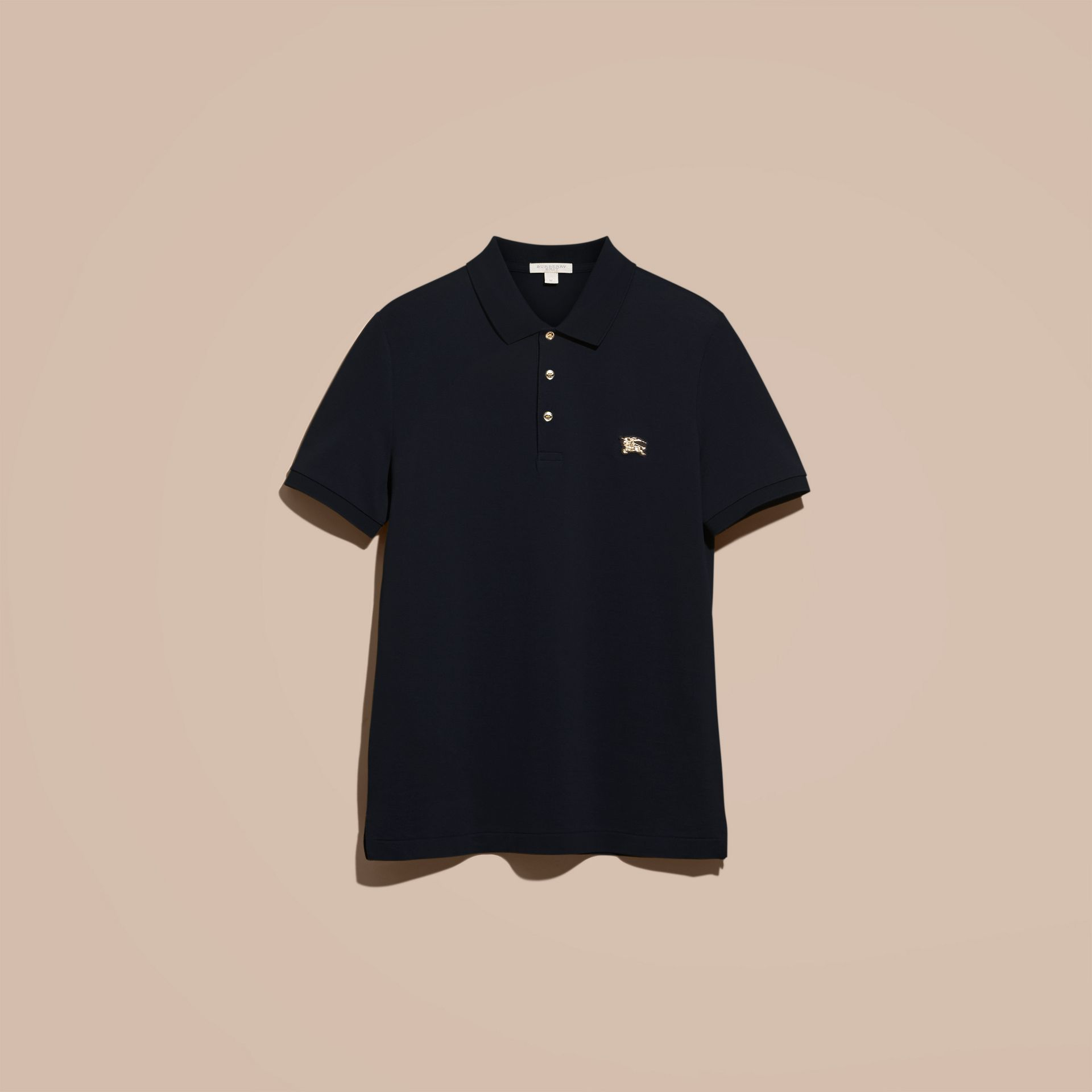 Navy Fitted Mercerised Cotton-Piqué Polo Shirt Navy - gallery image 3