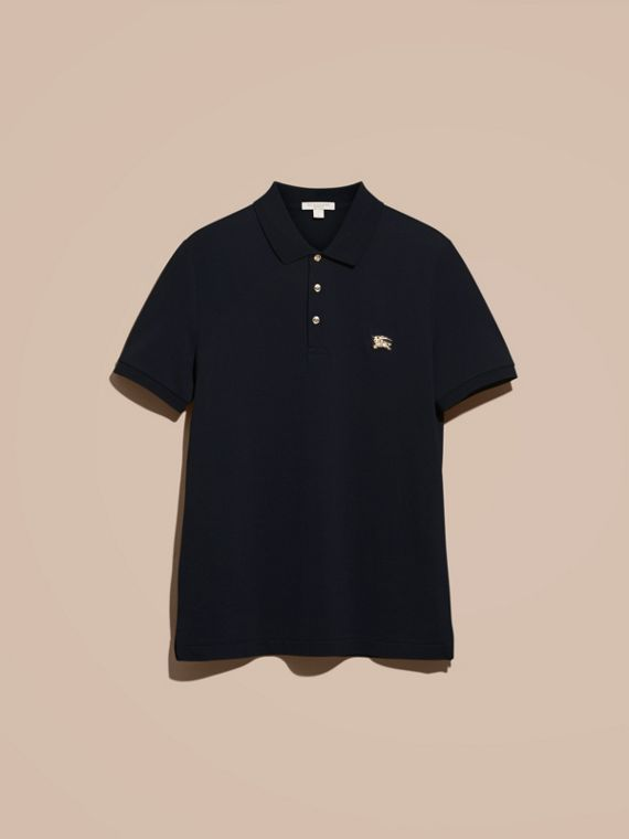 Navy Fitted Mercerised Cotton-Piqué Polo Shirt Navy - cell image 2