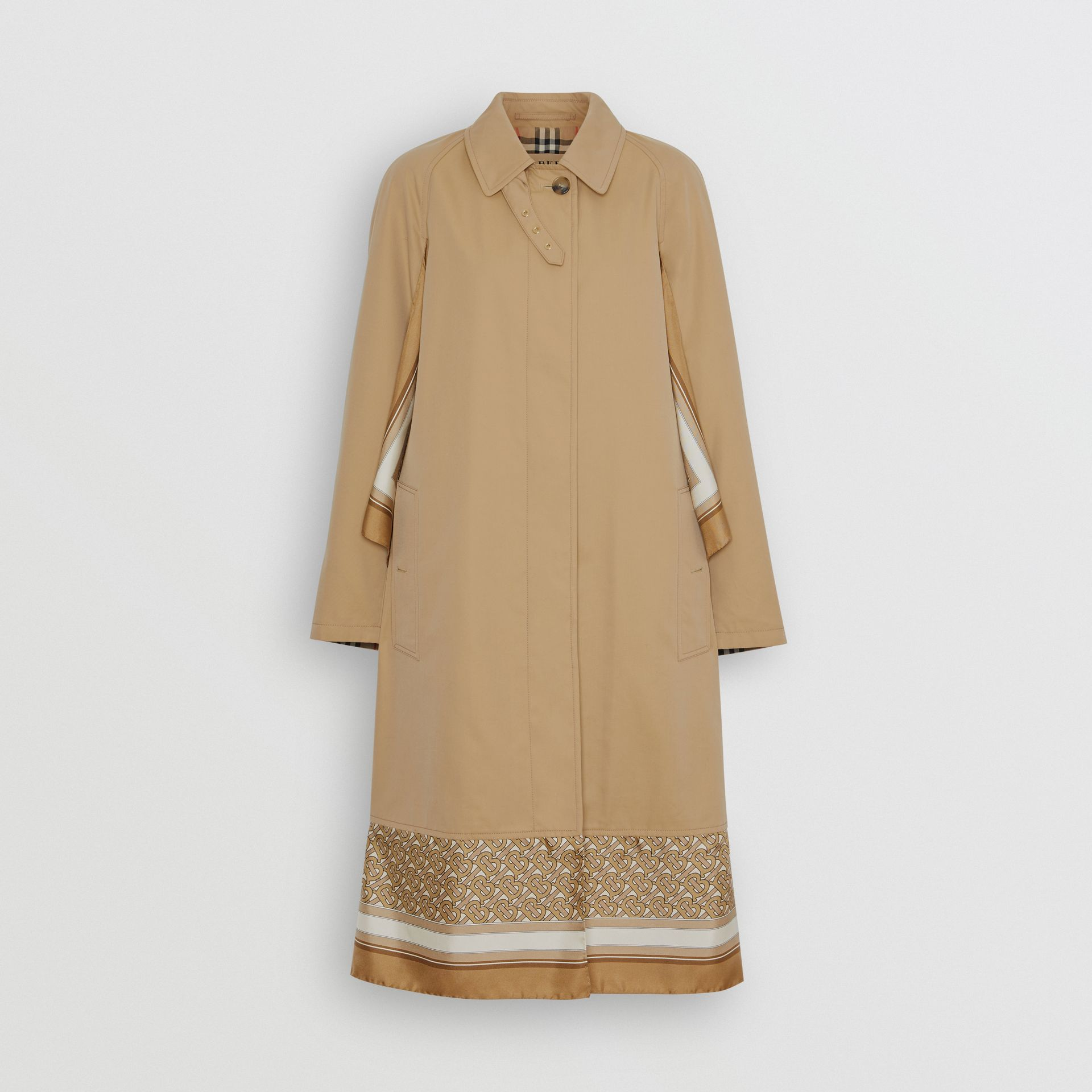 Monogram Print Silk Panel Cotton Car Coat in Pale Honey - Women | Burberry - gallery image 3