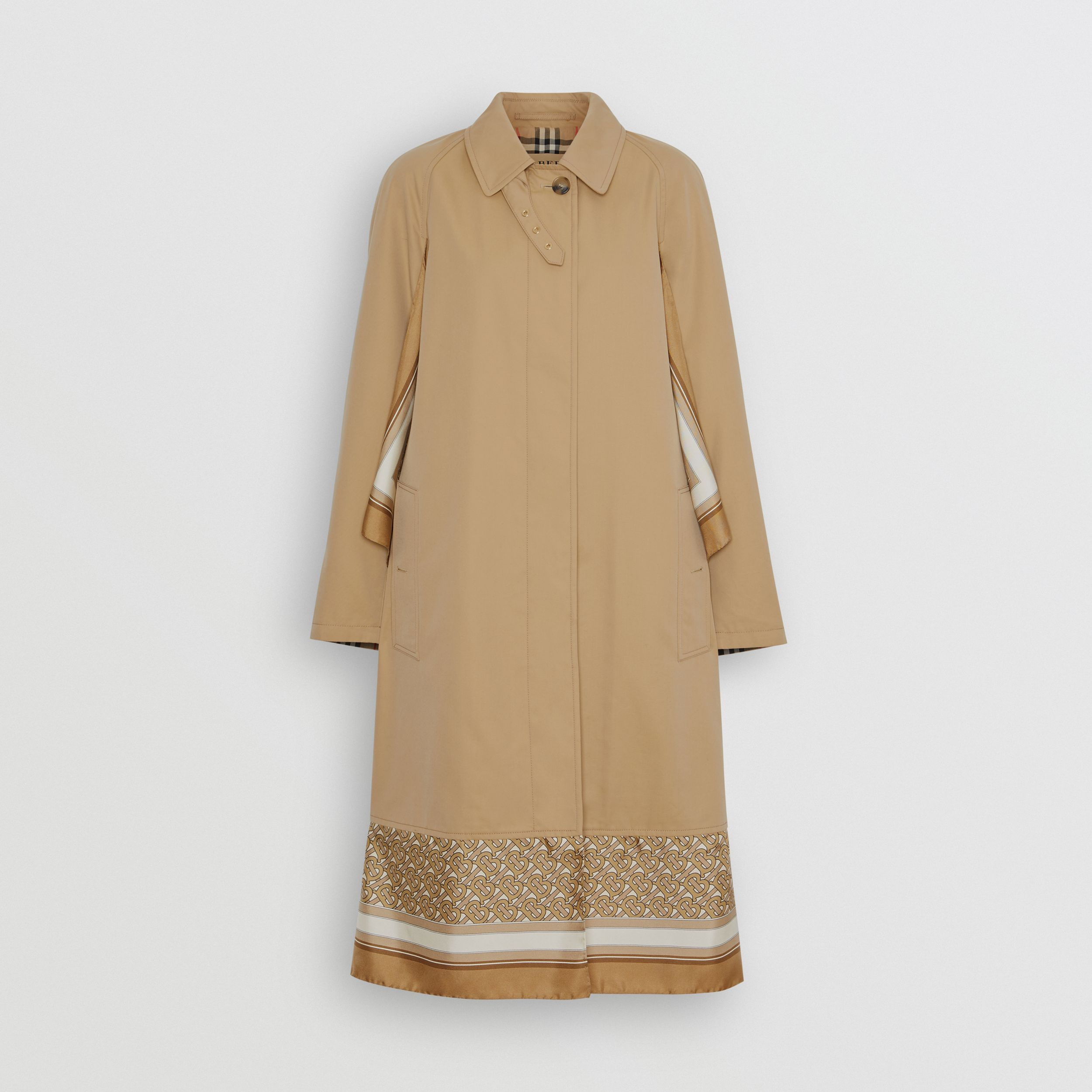Monogram Print Silk Panel Cotton Car Coat in Pale Honey | Burberry Singapore - 4