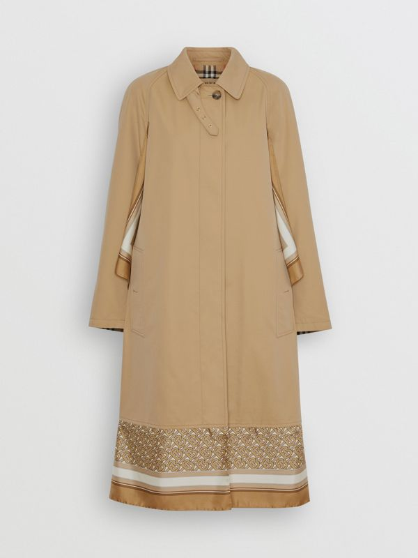 Monogram Print Silk Panel Cotton Car Coat in Pale Honey - Women | Burberry United States - cell image 3