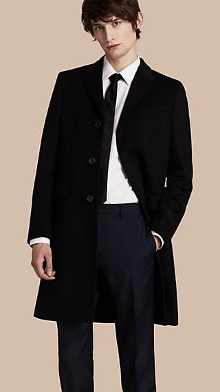 Manteau ajusté en laine et cachemire