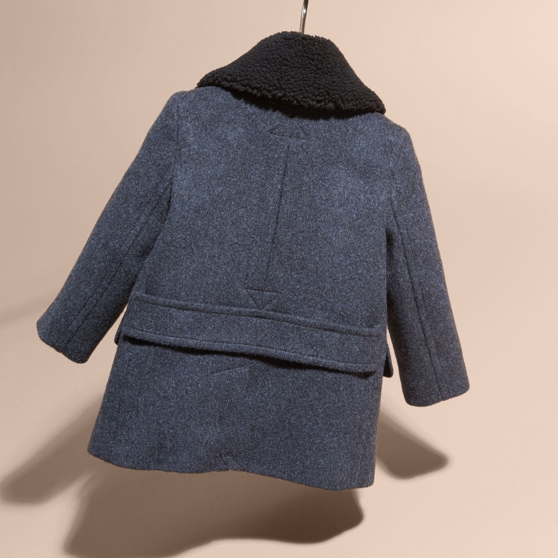 Airforce blue Technical Wool Coat with Detachable Textured Collar - gallery image 4