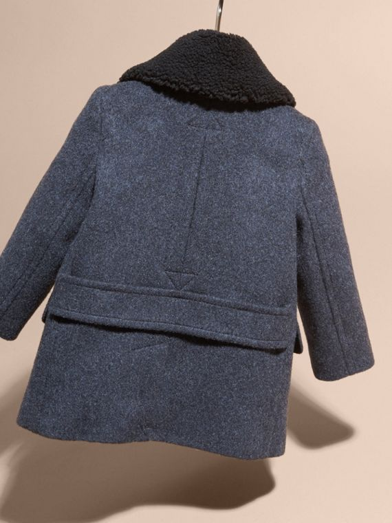 Airforce blue Technical Wool Coat with Detachable Textured Collar - cell image 3