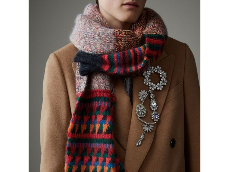 Long Patchwork Cashmere Mouliné Scarf in Multicolour | Burberry - cell image 4