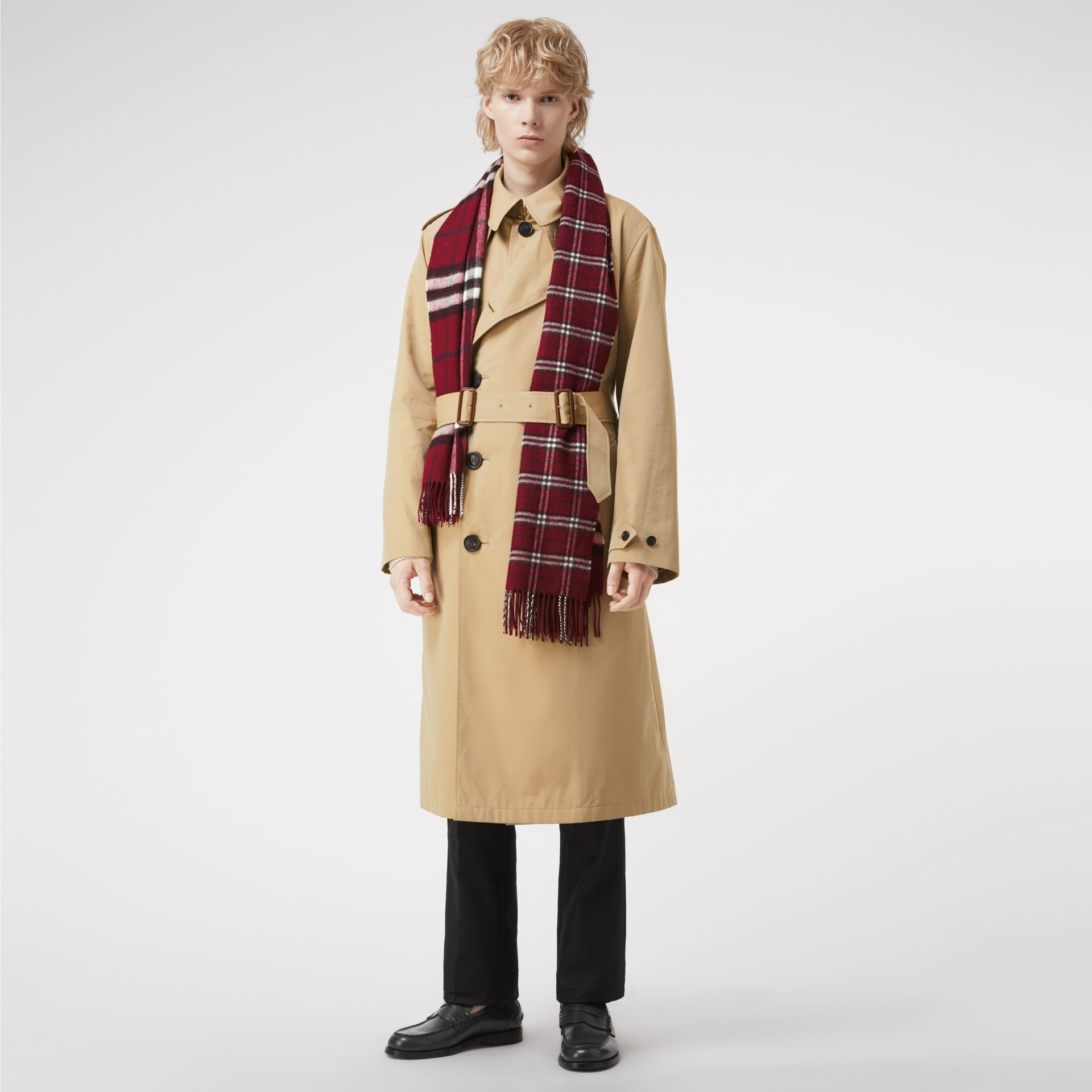 Gosha x Burberry Check Cashmere Double Scarf in Claret | Burberry - gallery image 3