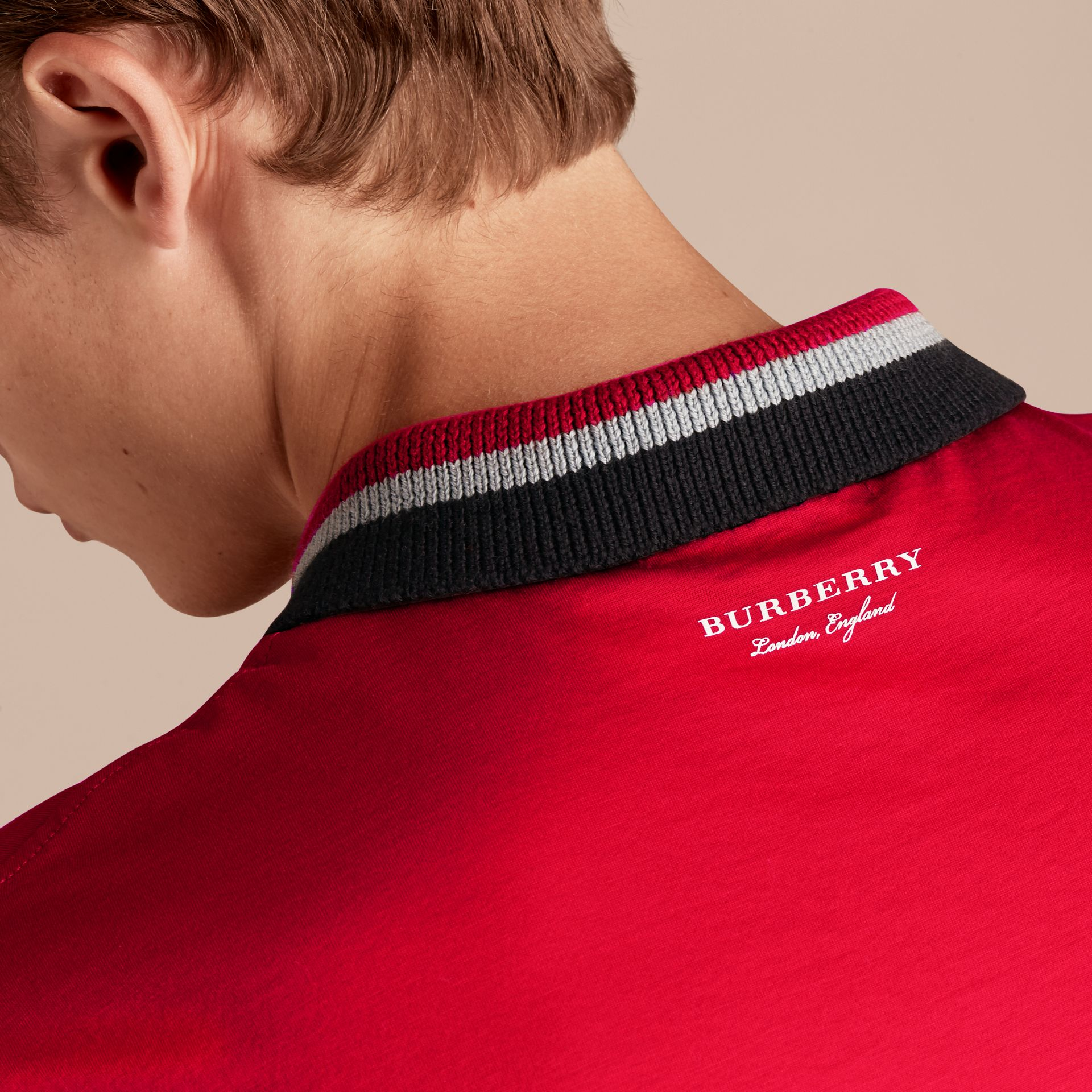 Cotton Polo Shirt with Knitted Collar in Military Red - Men | Burberry - gallery image 5