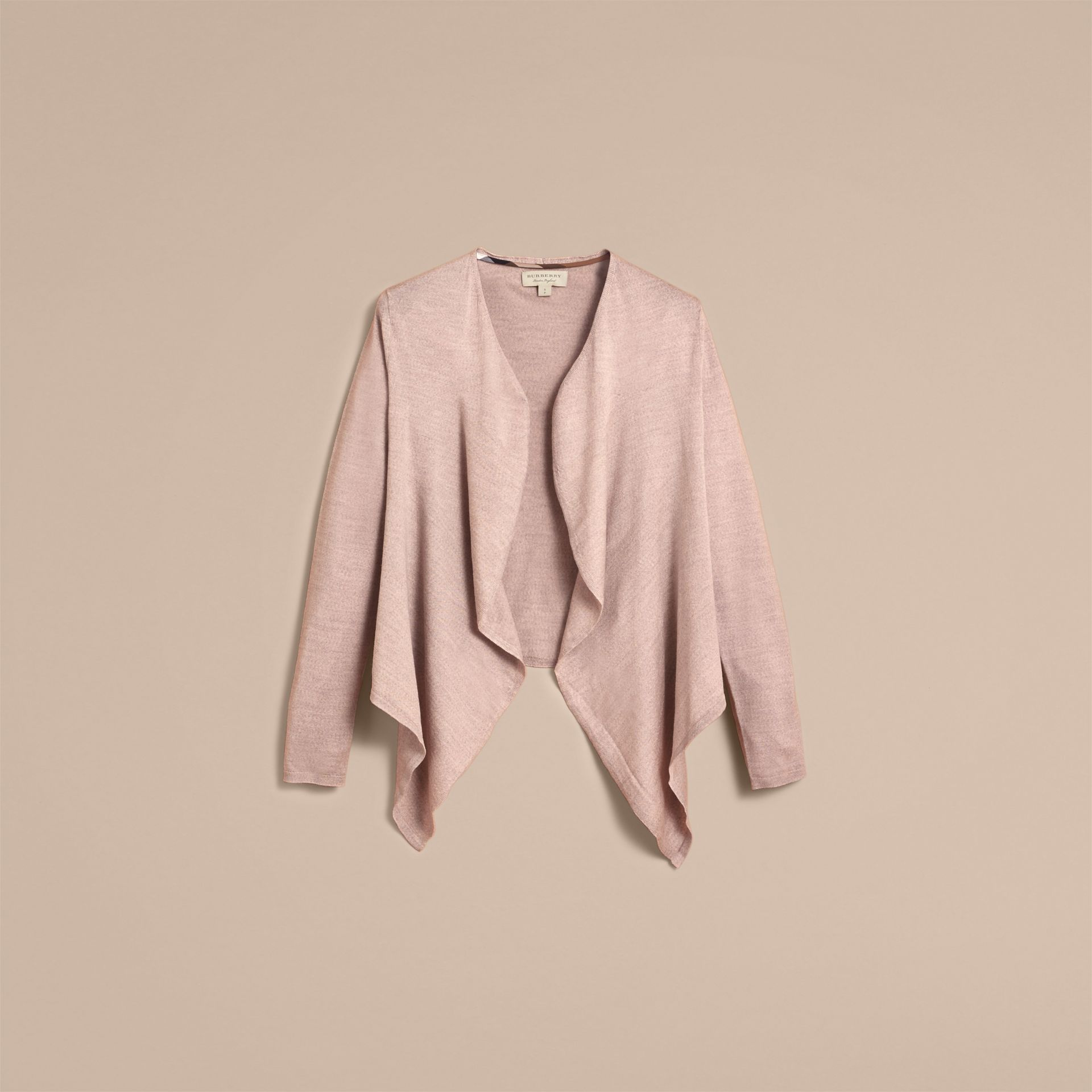 Merino Wool Silk Open Cardigan Pale Taupe - gallery image 4
