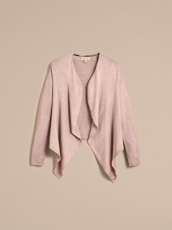Merino Wool Silk Open Cardigan in Pale Taupe - Women | Burberry - cell image 3