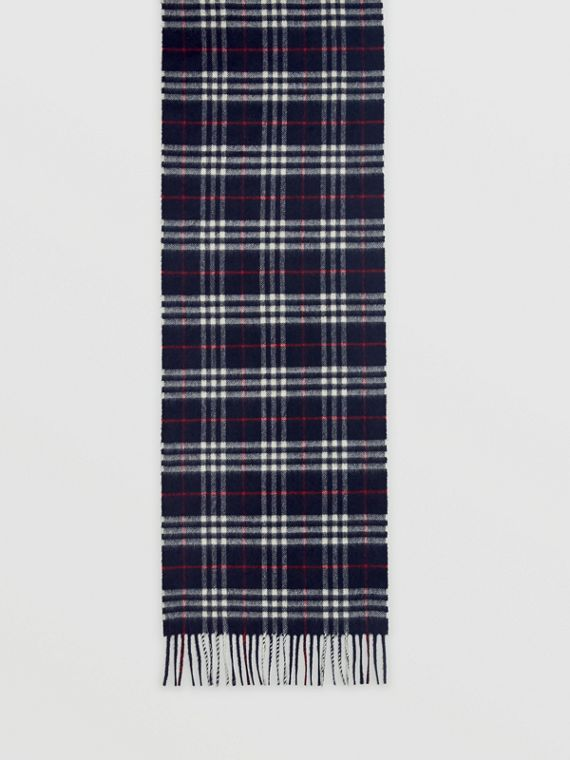 Check Cashmere Scarf in Navy