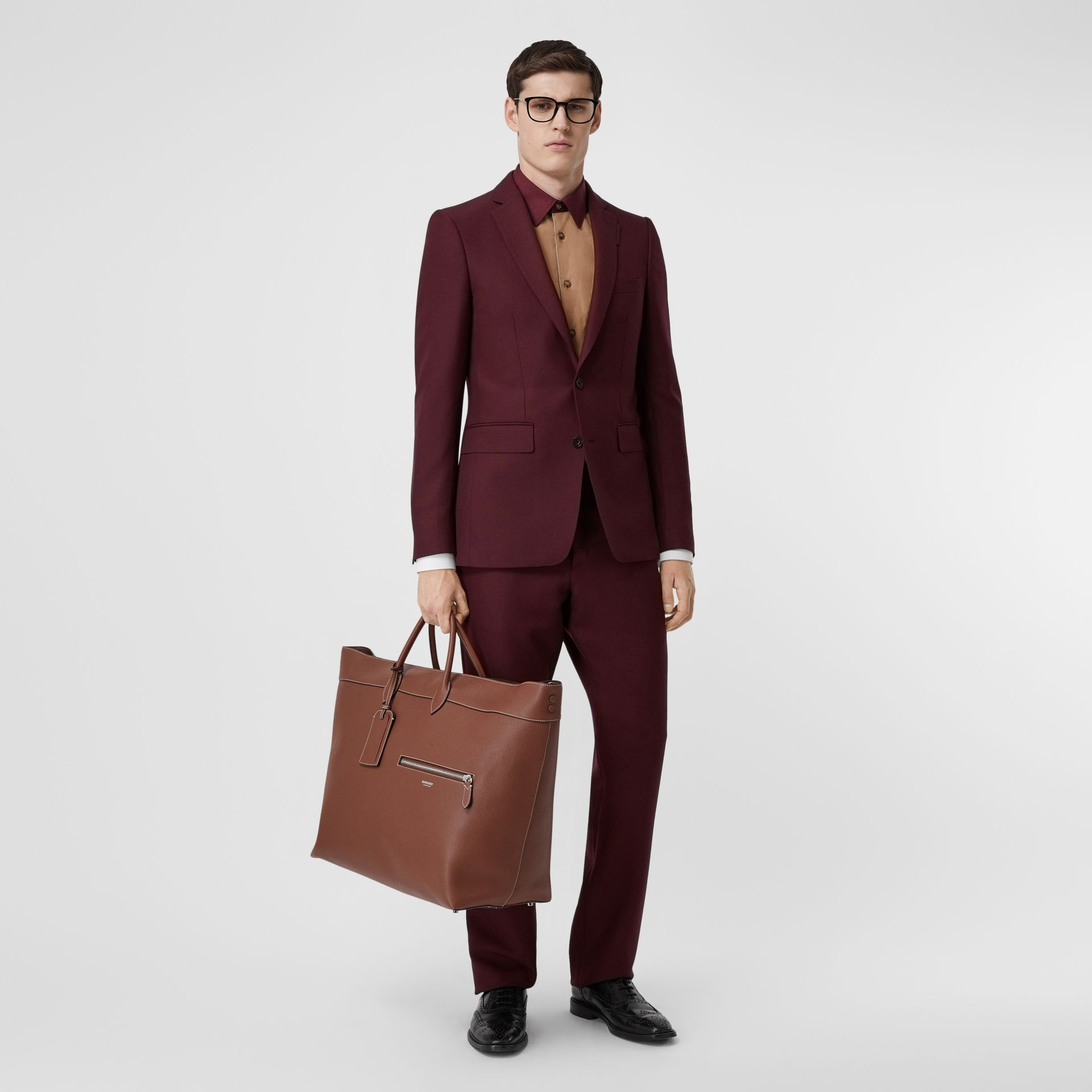 English Fit Wool Mohair Tailored Jacket in Deep Burgundy - Men | Burberry United States - gallery image 5