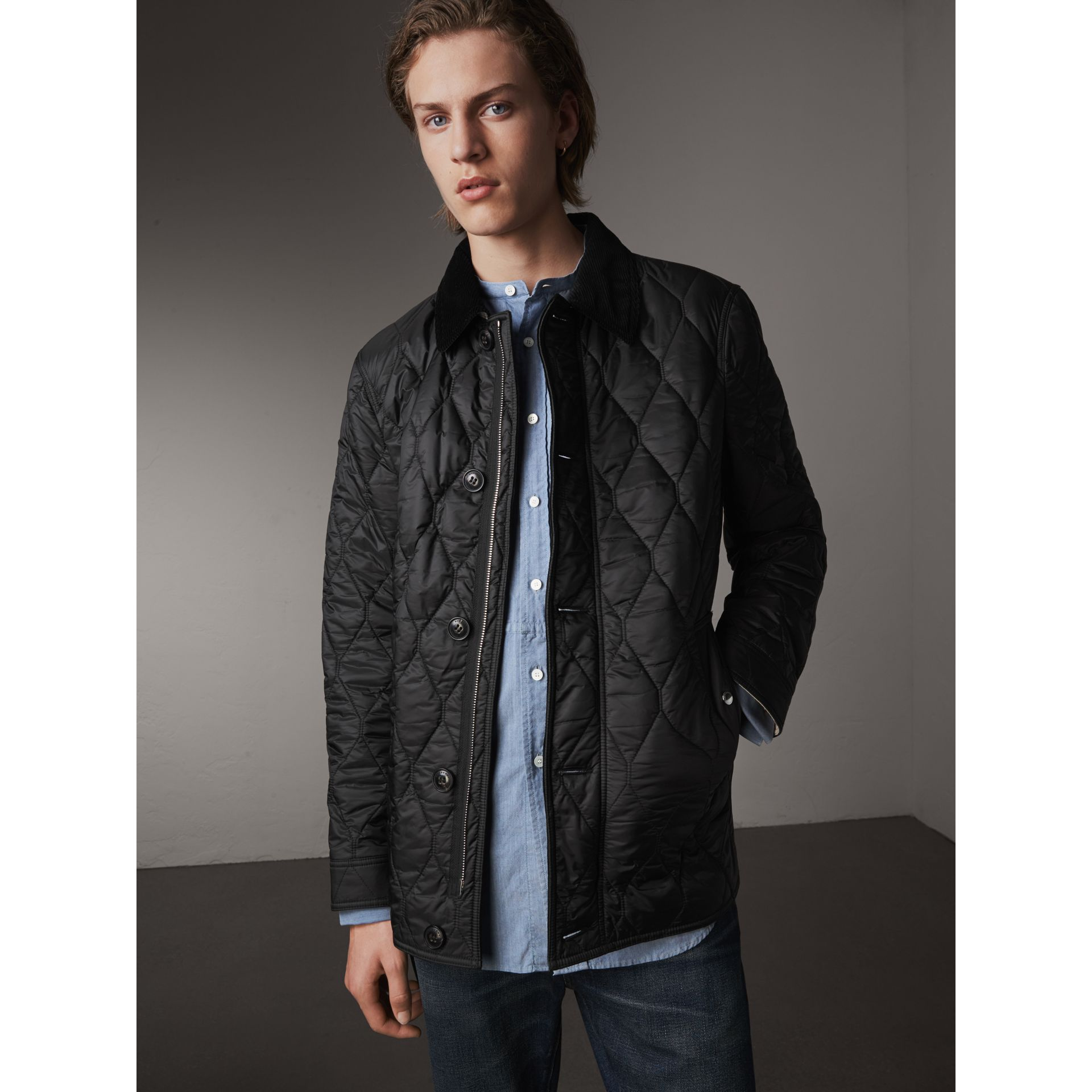 Check Detail Quilted Jacket with Corduroy Collar in Black - Men | Burberry - gallery image 1