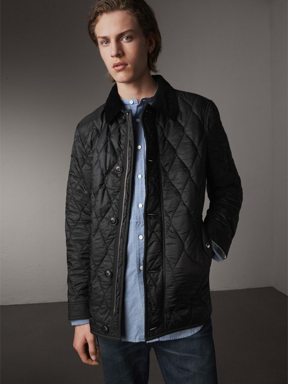 Check Detail Quilted Jacket with Corduroy Collar in Black