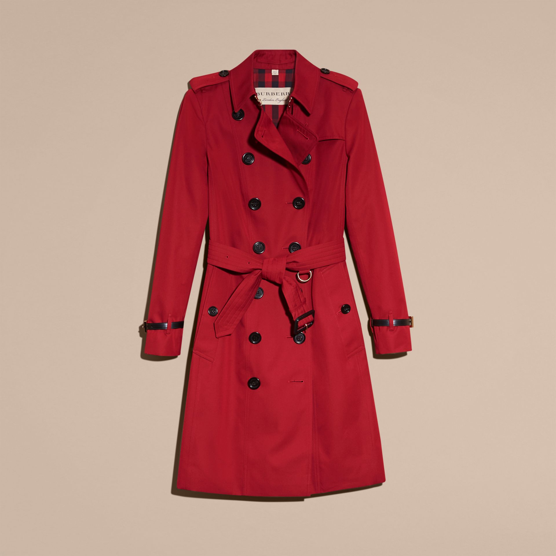 Leather Trim Cotton Gabardine Trench Coat in Parade Red - gallery image 4
