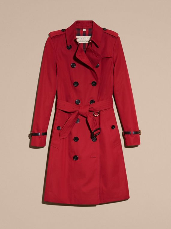 Leather Trim Cotton Gabardine Trench Coat in Parade Red - cell image 3