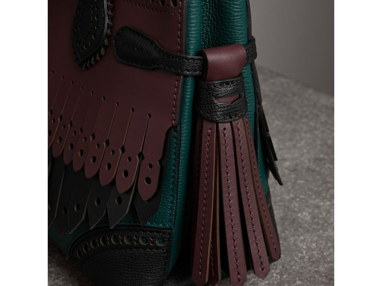 The Small Banner in Brogue Detail Leather in Sea Green - Women | Burberry - cell image 1