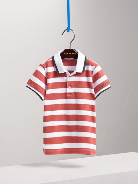 Striped Cotton Polo Shirt in Pale Cinnamon - Boy | Burberry - cell image 2