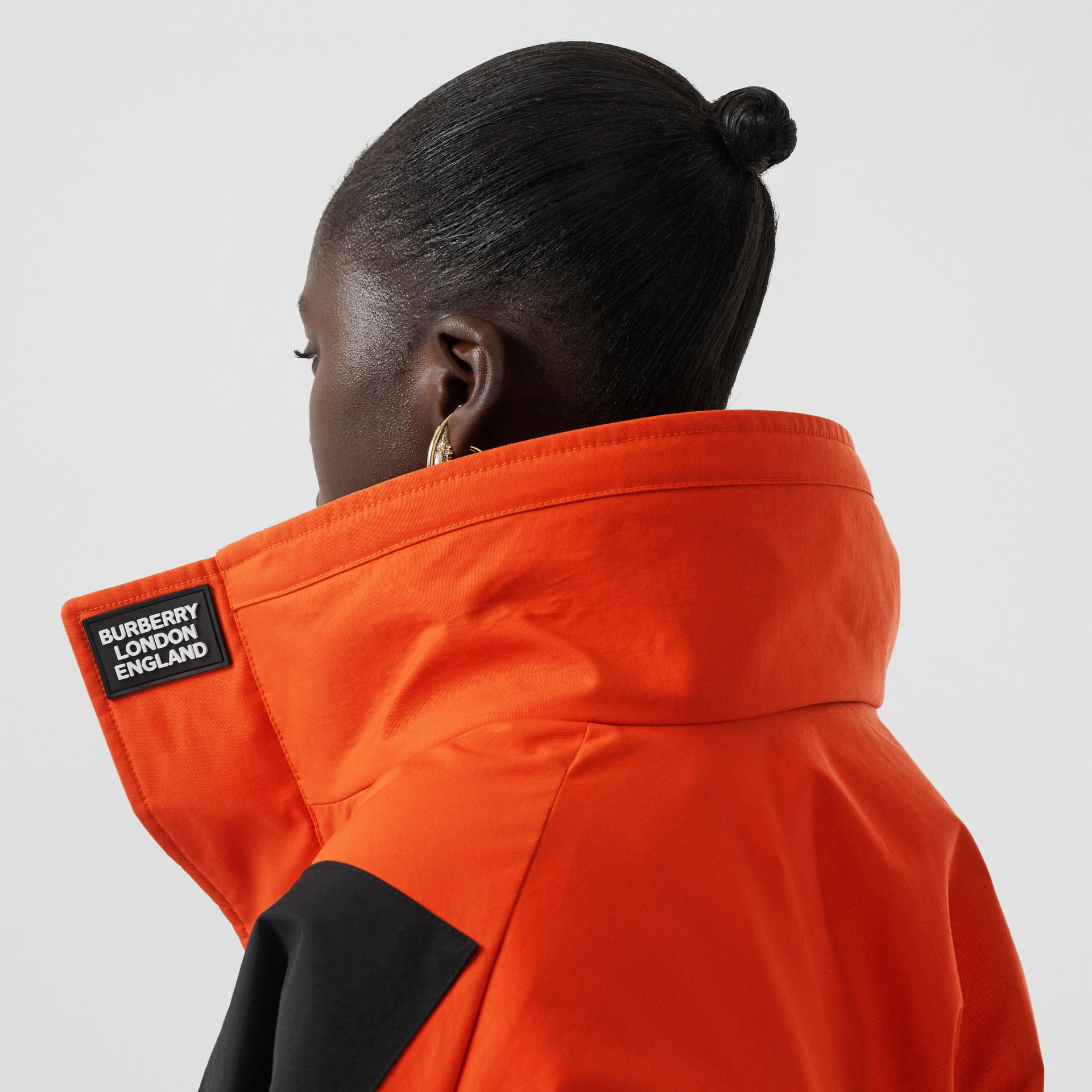 Panelled Nylon Track Jacket with Detachable Warmer in Bright Orange - Women | Burberry - gallery image 1