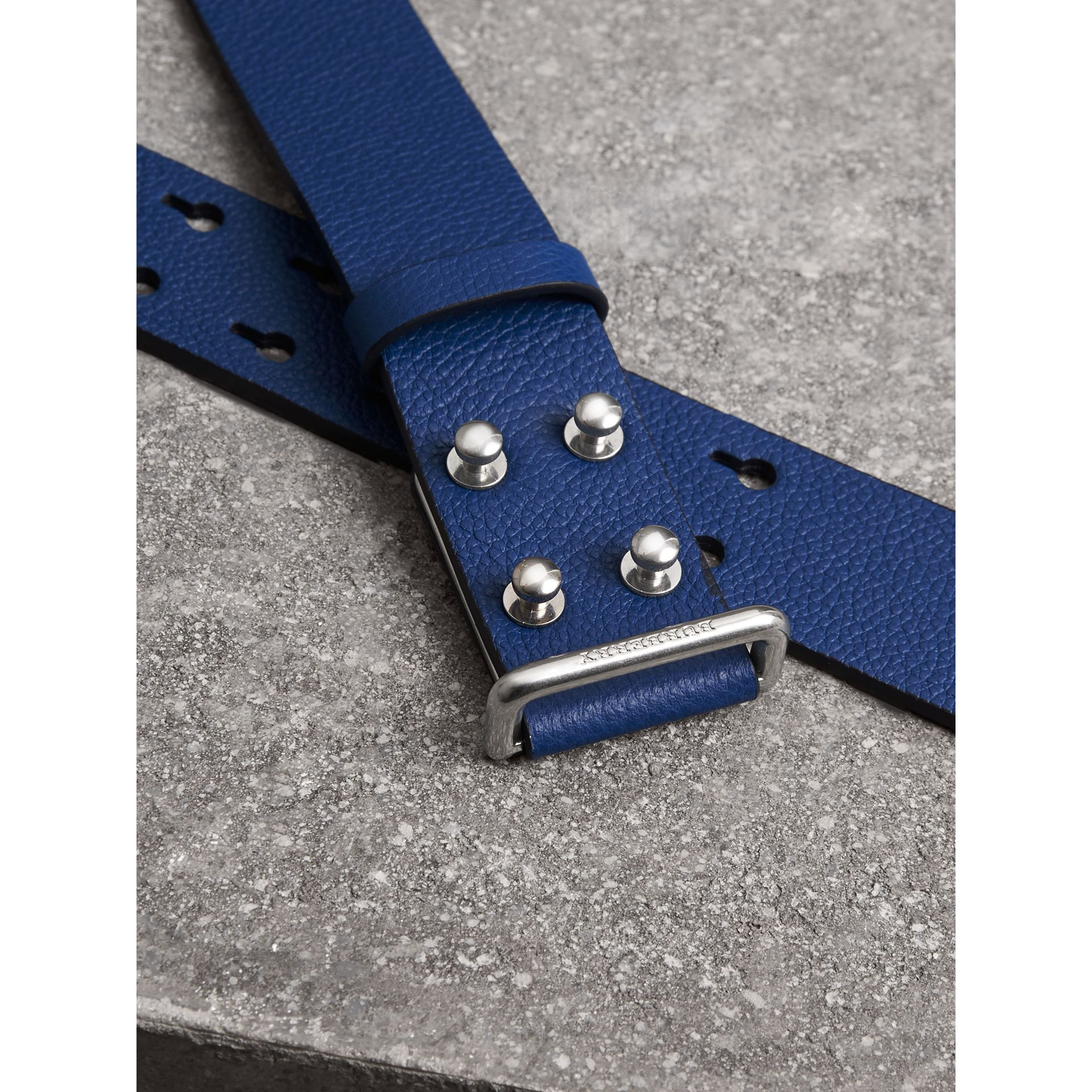 Push-Stud Grainy Leather Belt in Bright Ultramarine - Men | Burberry Australia - gallery image 1