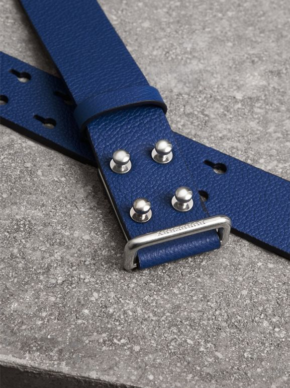 Push-Stud Grainy Leather Belt in Bright Ultramarine - Men | Burberry Australia - cell image 1