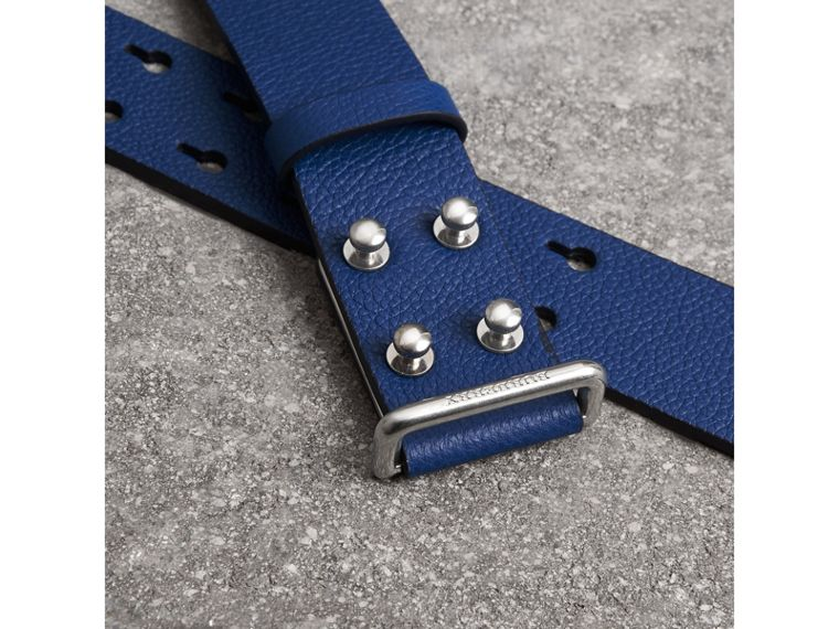 Push-Stud Grainy Leather Belt in Bright Ultramarine - Men | Burberry - cell image 1