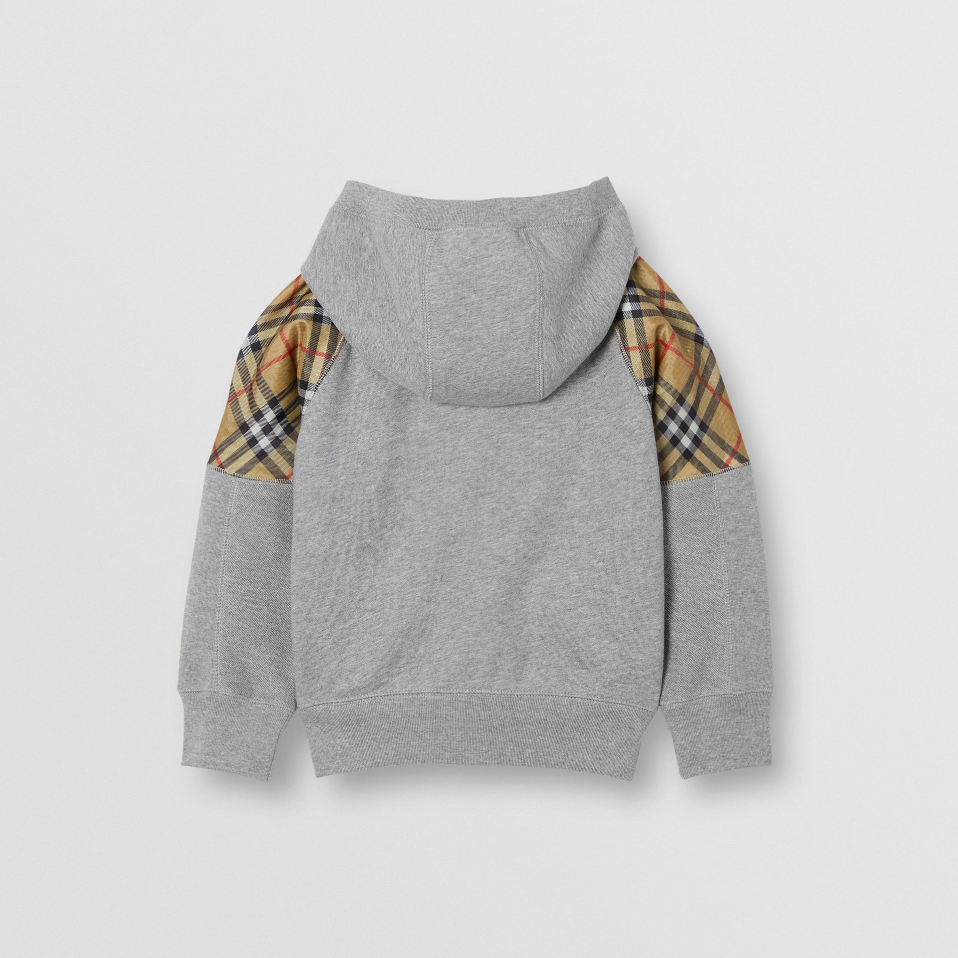 Vintage Check Panel Cotton Hooded Top in Grey Melange | Burberry - gallery image 4