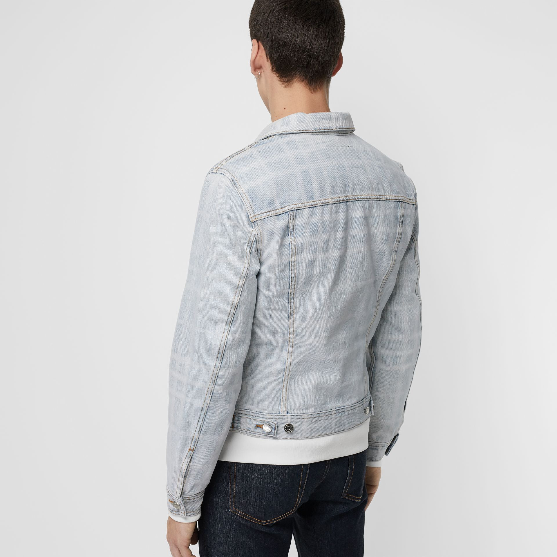 Bleached Check Denim Jacket in Light Indigo - Men | Burberry - gallery image 4