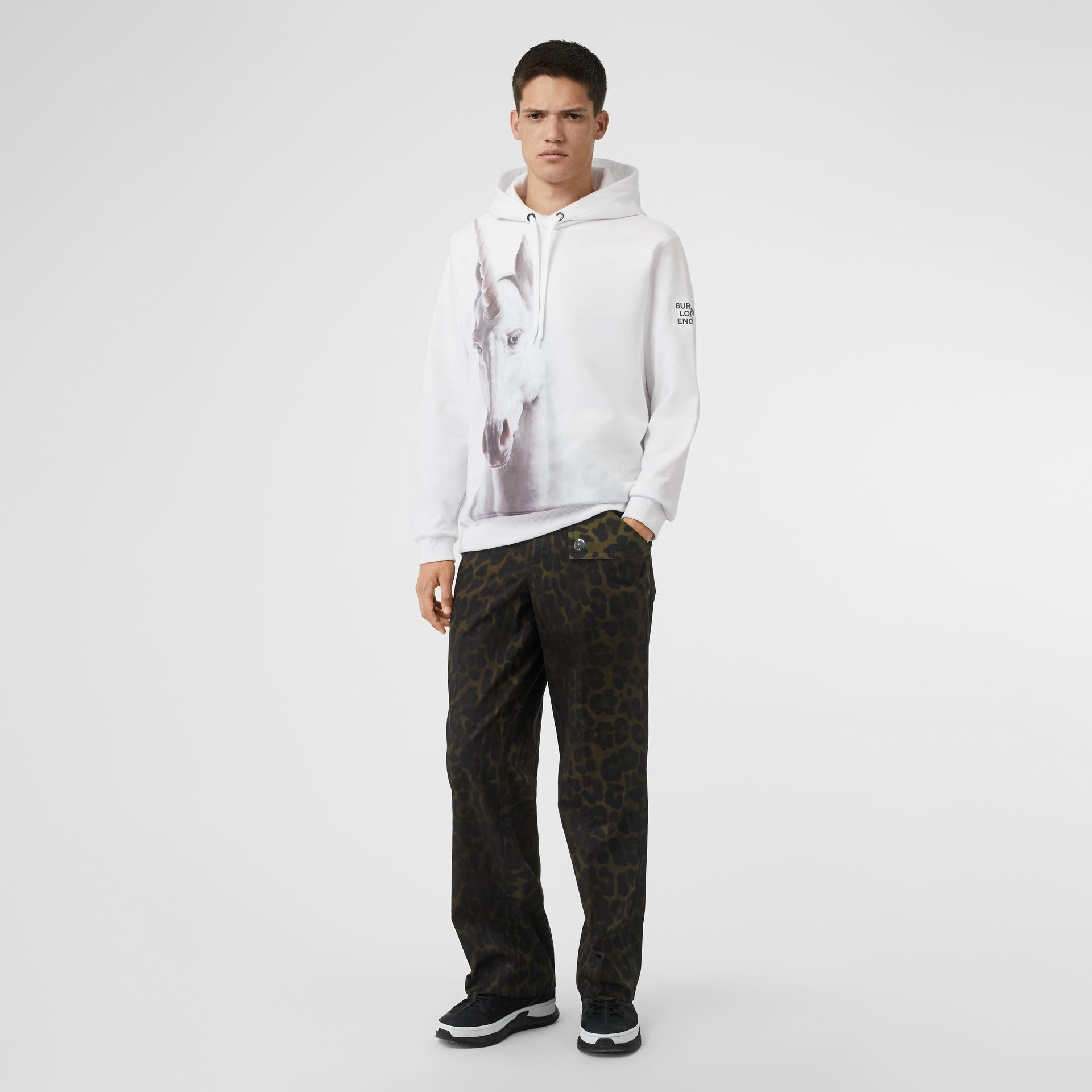 Unicorn Print Cotton Hoodie in White - Men | Burberry Australia - gallery image 0
