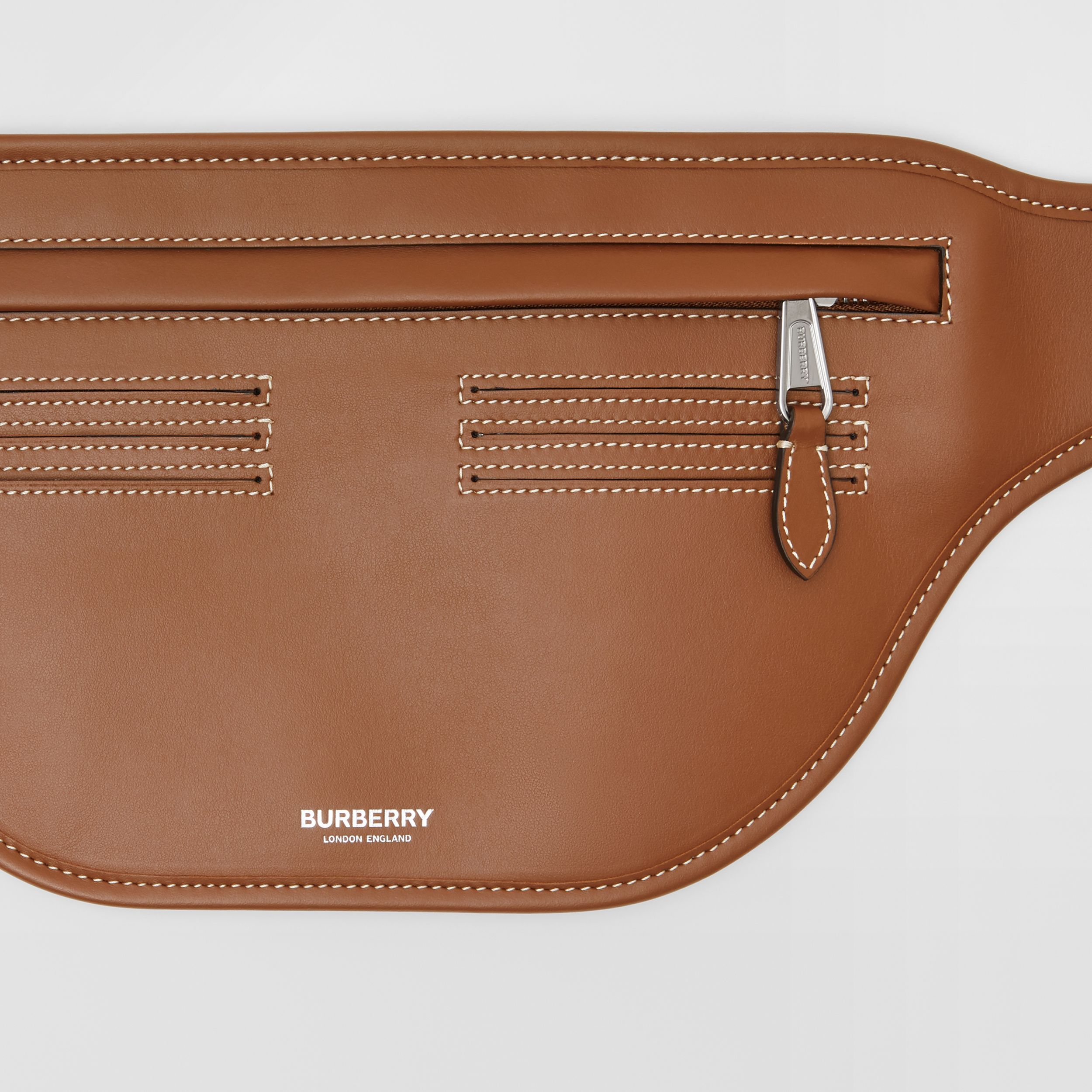 Topstitched Leather Brummell Bum Bag in Tan | Burberry - 2