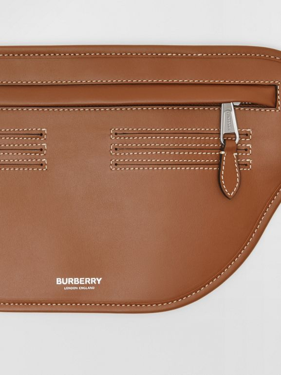 Topstitched Leather Brummell Bum Bag in Tan | Burberry - cell image 1