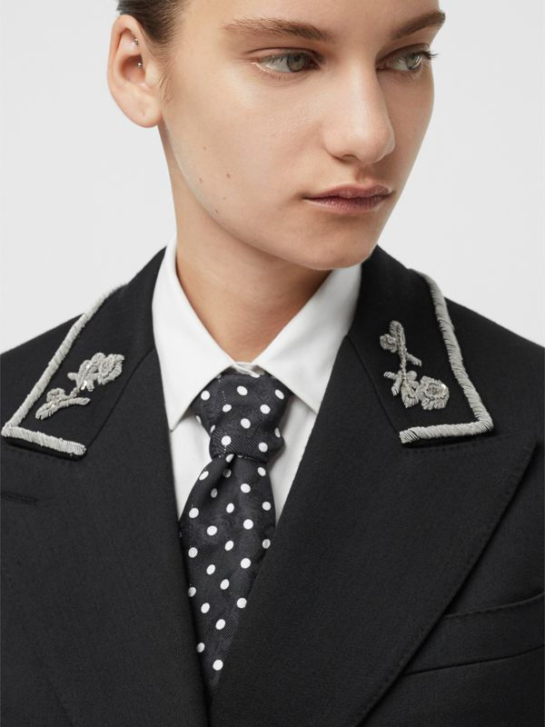 D-ring Detail Dreamscape Dot Silk Jacquard Skinny Scarf in Black - Women | Burberry - cell image 3