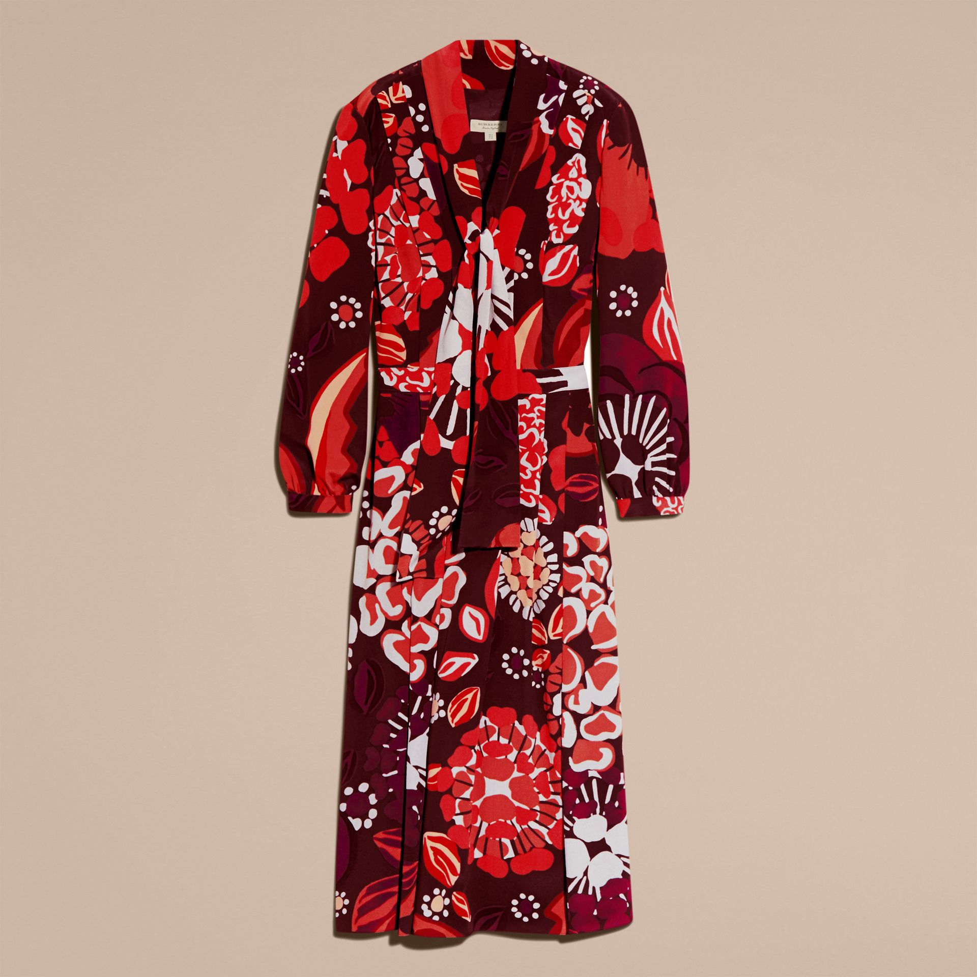 Deep burgundy Floral Print Silk Dress - gallery image 3