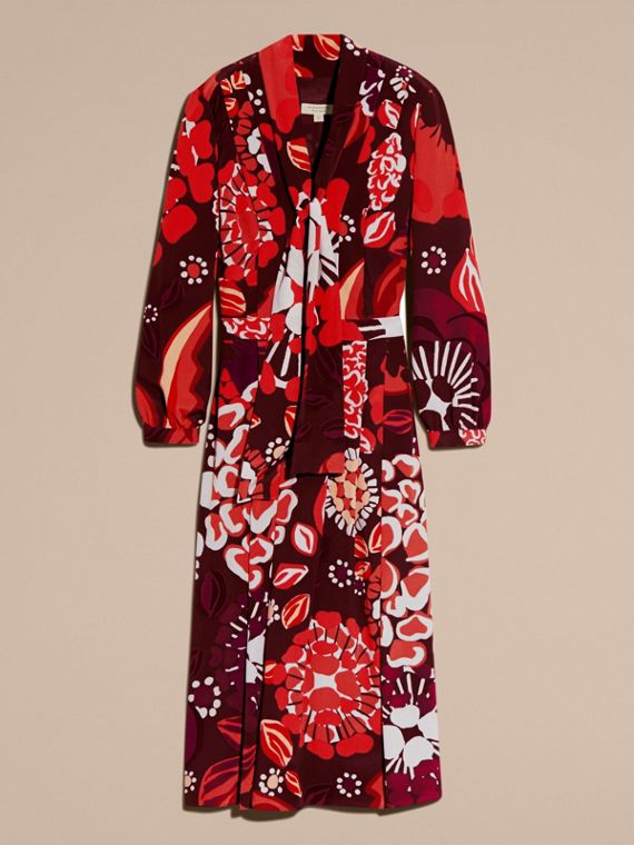 Deep burgundy Floral Print Silk Dress - cell image 2