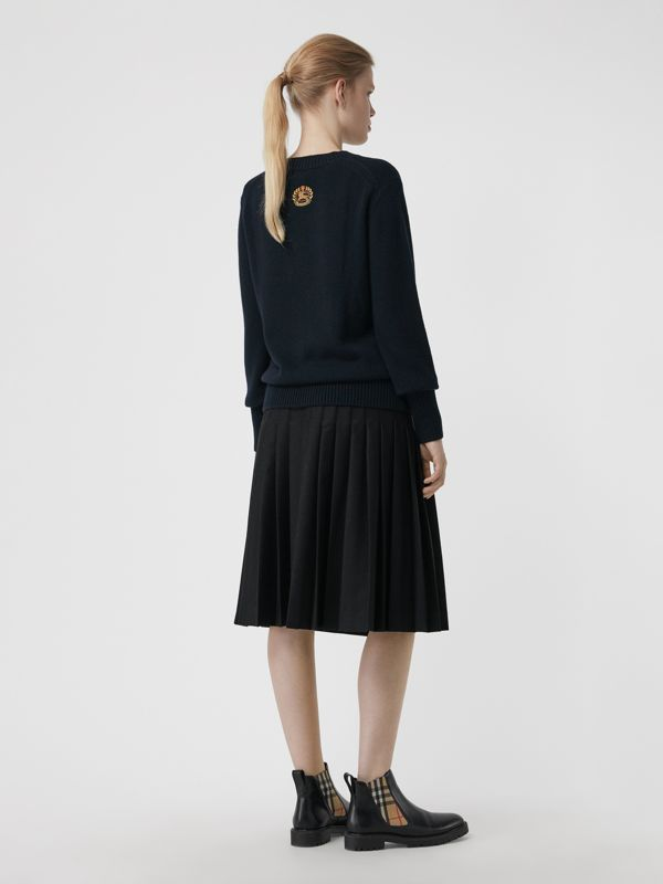 Archive Logo Appliqué Cashmere Sweater in Navy - Women | Burberry - cell image 2