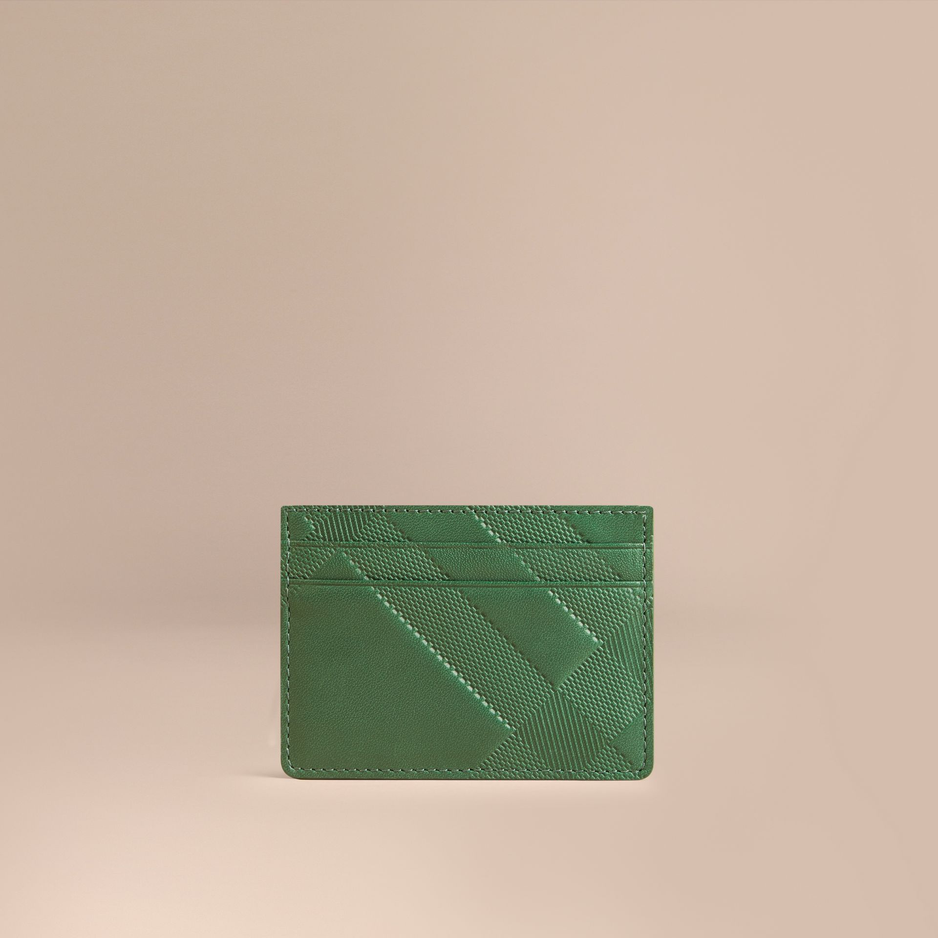 Bright forest green Check Embossed Leather Card Case Bright Forest Green - gallery image 1